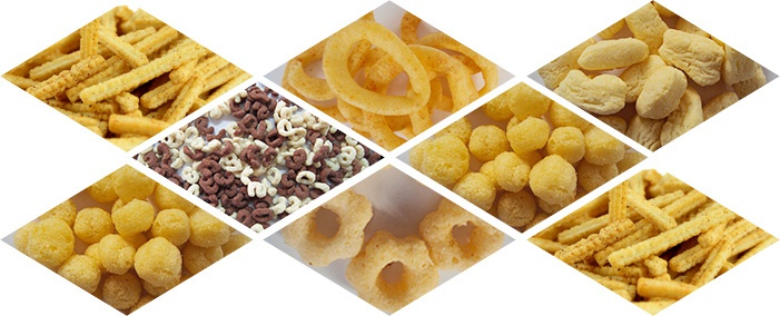 various puffed snack food