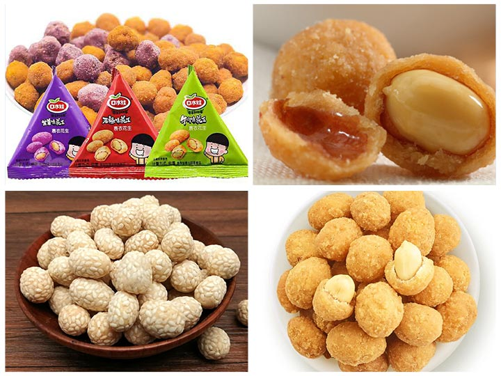 various spicy fried coated peanuts
